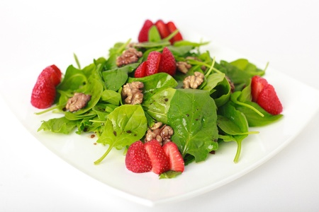 fresh salad with strawberry and nuts