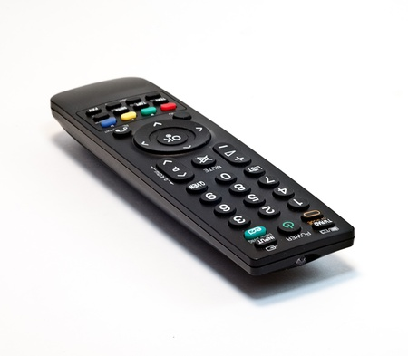 black panel tv on a white background Stock Photo