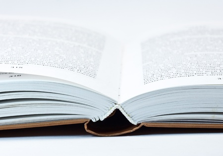 fragment of open book with white pages Stock Photo