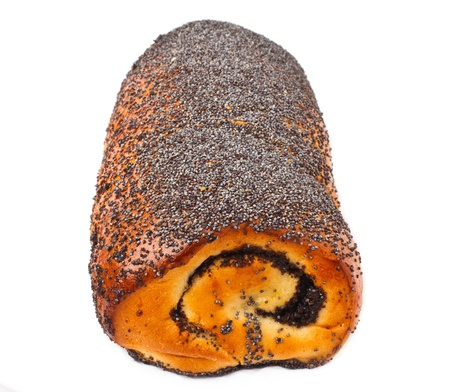 poppy-seed roll cake isolater on white background