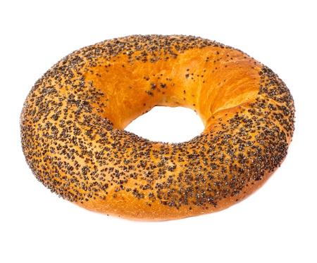 fresh round bagel Isolated on White background Stock Photo