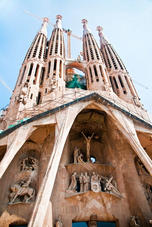 uncomplete: La Sagrada Familia  cathedral designed by Gaudi, Barselona, Spain