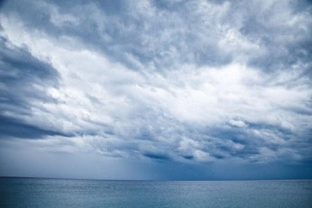 stormy grey-blue sky in the sea, spain