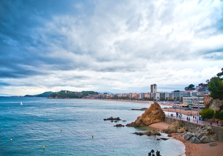 View of Lloret de Mar (Spain) stormy day