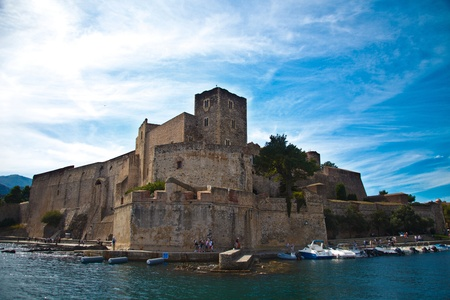 The town of Collioure in Languedoc-Roussillon in France Stok Fotoğraf - 10761573