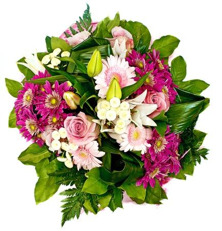 flores de cumpleaños: manojo de flores de color rosa y amarillo, hasta Foto de archivo
