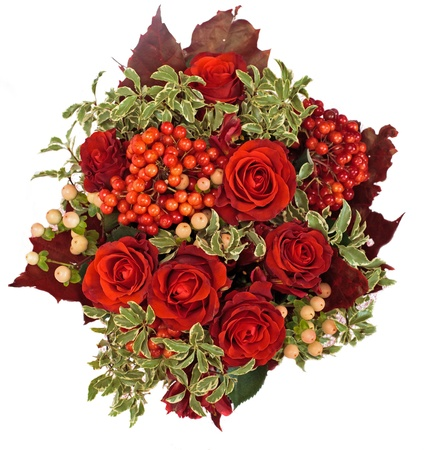 flower composition with roses, oak leaves and berries