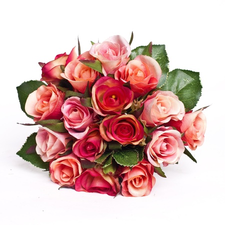 bridal bouquet: bunch of roses isolated on white