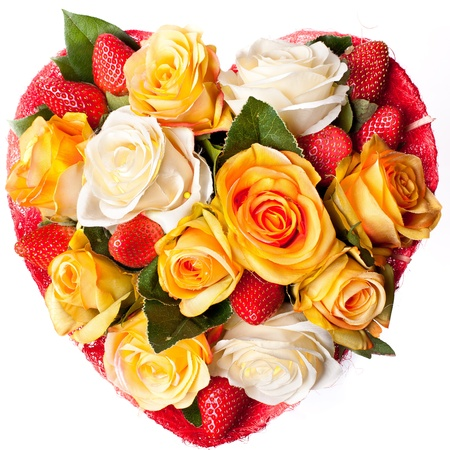 Roses and strawberry in the shape of heart, Love, romance, Valentines day  photo