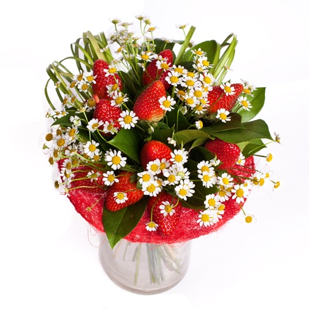 bunch of  flowers in vase isolated on white