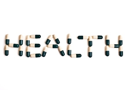 word health made with capsule pills Stock Photo