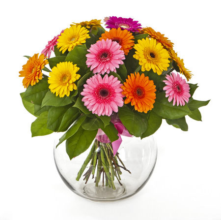 bouquet of gerberas in vase isolated on white