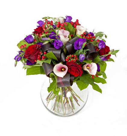 bouquet of pink, red and violet flowers isolated on white Stock Photo