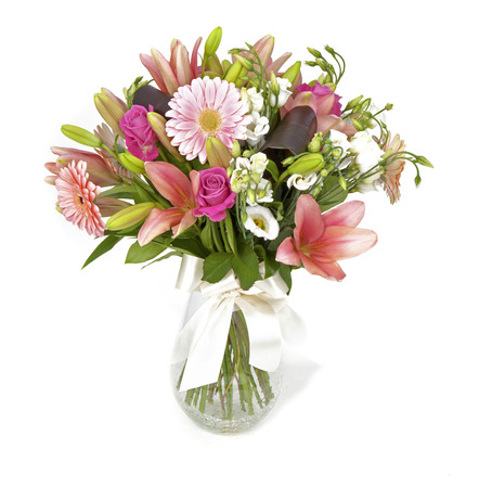 bouquet of pink flowers isolated on white Stockfoto