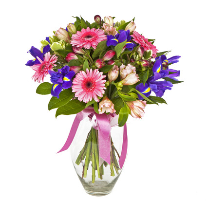 bouquet of pink and violet flowers isolated on white Stock Photo