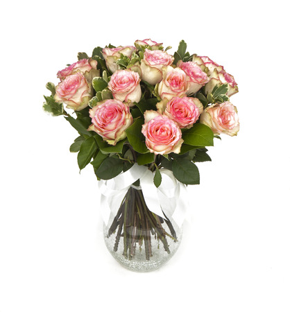 bouquet of pink roses in vase isolated on white Zdjęcie Seryjne