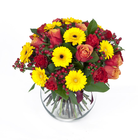 bouquet of roses and gerberas in vase isolated on white Stock Photo