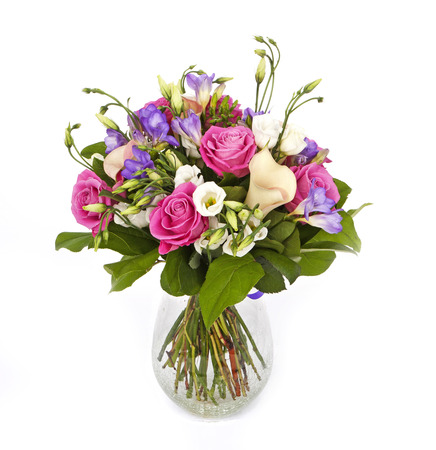 bouquet of pink and violet flowersin vase isolated on white Stock Photo