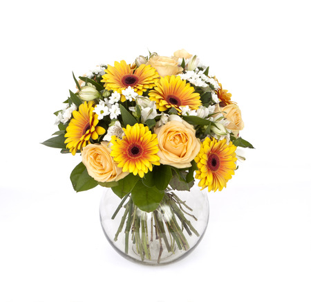 bouquet of yellow roses and gerberas in vase isolated on white