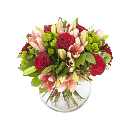 bouquet of red roses  and pink lilias isolated on white Stock Photo