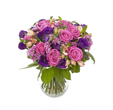 bouquet of pink and violet flowers isolated on white Stok Fotoğraf