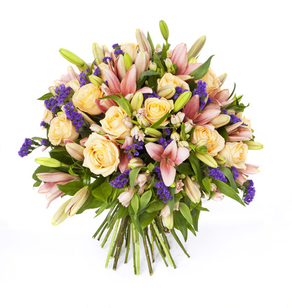 bouquet of lilias and roses isolated on white Stok Fotoğraf - 34652836