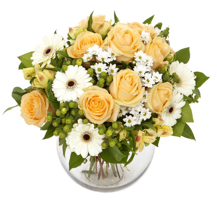 bouquet of orange roses and white gerberas in vase isolated on white
