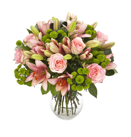bouquet of pink roses and lilies isolated on white