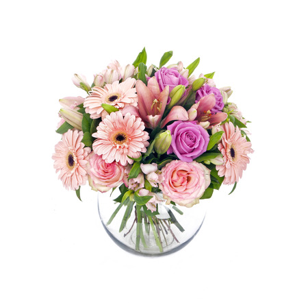bouquet of pink roses and gerberas isolated on white Foto de archivo