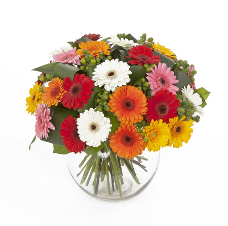 bouquet of colored gerberas in vase isolated on white background