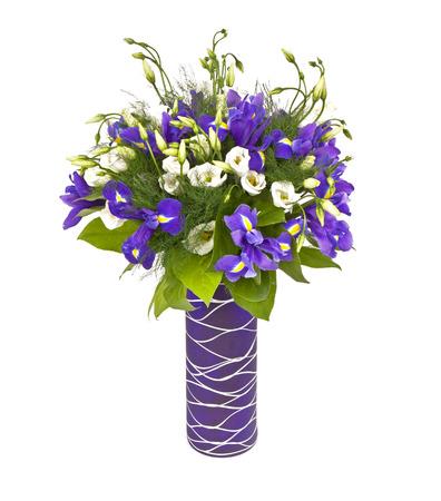 bouquet of irises in vase isolated on white background