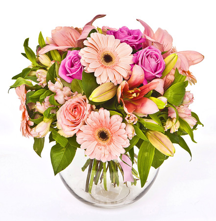bouquet of pink roses and gerberas in vase on white background