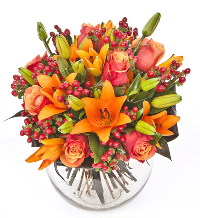 bouquet of roses and lilias in vase on white background