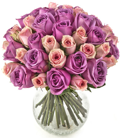 bouquet of pink roses  in vase on white background