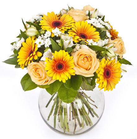bouquet of roses and gerberas in vase on white background