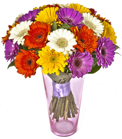 bouquet of gerberas in vase isolated on white background