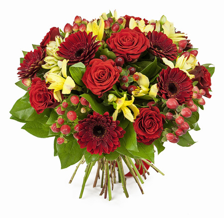 bouquet of red roses  and gerberas isolated on white