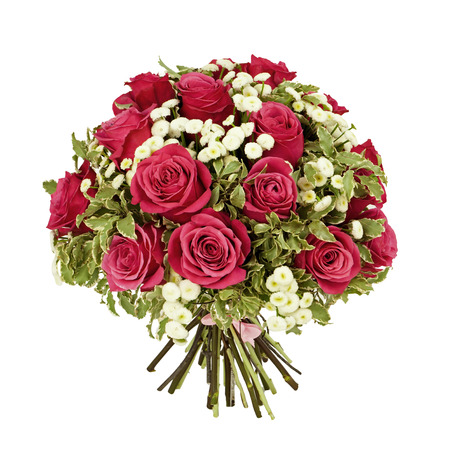 bouquet fleurs: bouquet de roses roses isol� sur blanc