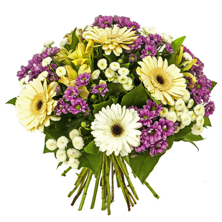 bouquet of yellow and pink flowers isolated on white