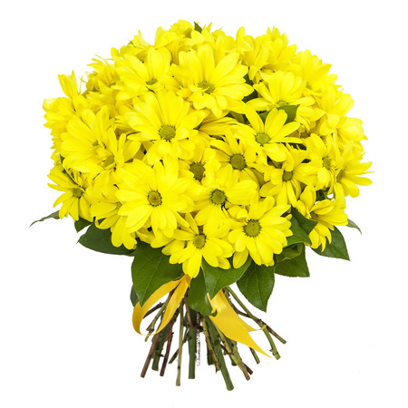 bouquet of yellow Chrysanthemum flowers isolated on white Stock Photo