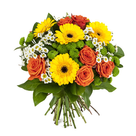 bunch of red roses: bouquet of yellow and orange flowers isolated on white background