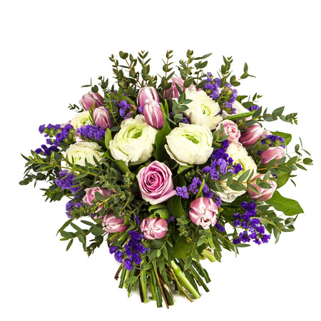 bridal bouquet: bouquet of pink, white and violet flowers isolated on white