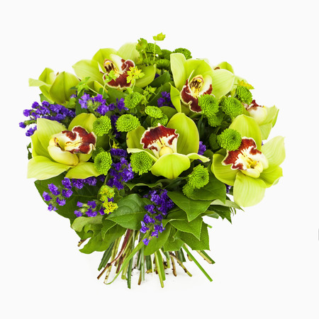 bouquet of green orchids  isolated on white