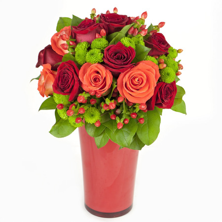 bouquet of red and orange roses in vase isolated on white background