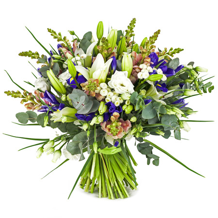 bouquet of field flowers isolated on white