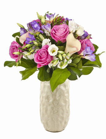 bouquet of flowers in vase isolated on white Stock Photo