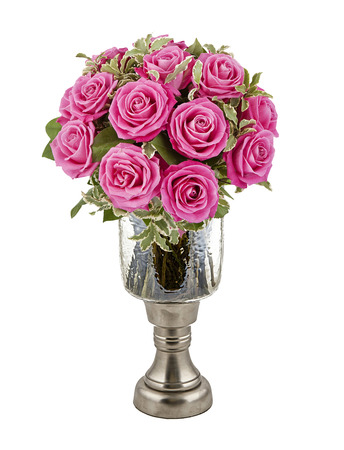 bouquet of pink roses in vase isolated on white Stock Photo