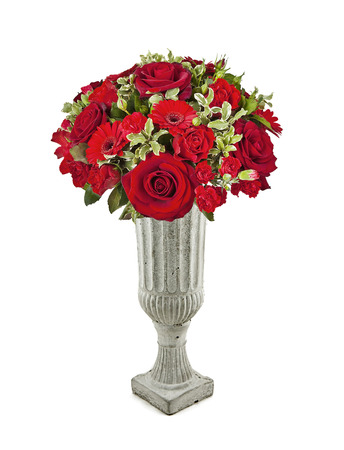 bouquet of red roses in vase isolated on white Stock Photo