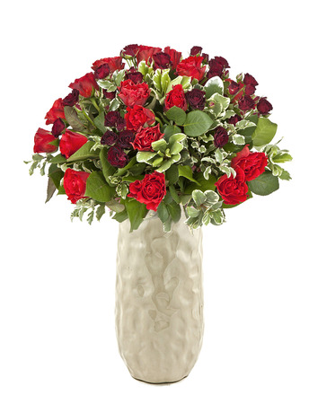 bouquet of red roses in ceramic vase isolated on white Stock Photo