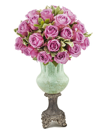 bouquet of violet roses in vase isolated on white Stock Photo